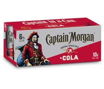 Captain Morgan (10 Pack) Spiced Rum & Cola Can 375mL