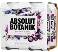 Absolut Botanik Berry Lime 4-Pack Can 375mL