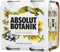 Absolut Botanik Berry Lemon 4-Pack Can 375mL